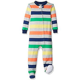 Essentials Baby Girls Zip-Front Footed Sleeper, Multi Stripe Grey, 12-...