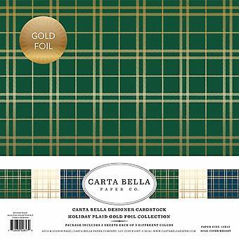 Carta Bella Holiday Ruudullinen Kulta folio 12x12 Tuuman Collection Kit