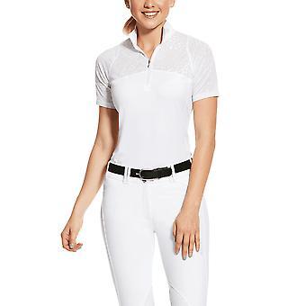 Ariat Womens Airway 1/4 Zip Short Sleeves Show Shirt - Blanc
