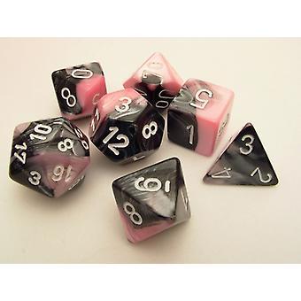 Chessex Gemini Polydice Set - Black-Pink/white