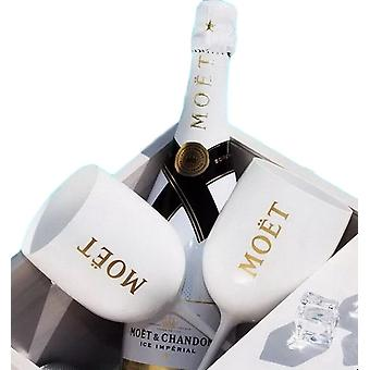 White Champagne Moet Plastic Wine Glass - 1pc Cup