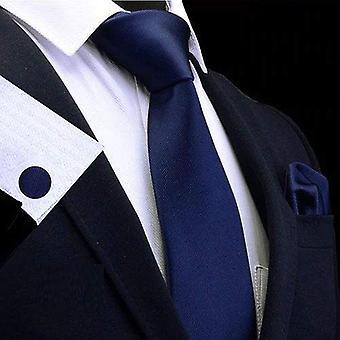 ダークネイビー ブルー タイ カフ リンク&ポケット スクエア セット