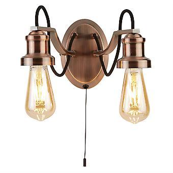 Zoeklicht Oliva - 2 Licht Indoor Wall Light Zwart, Koper, E27