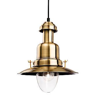 Firstlight Classic - 1 Light Dome Deckenanhänger Antik Messing, Klarglas, E27