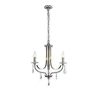 Luminosa Lighting - Żyrandol sufitowy Wisiorek 3 Światło E14 Polerowany Chrom, Satynowy nikiel, czysty kryształ