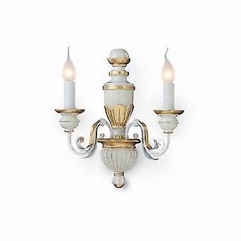 2 Luce Indoor Candela Parete Light Gold, Avorio, E14