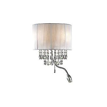 LED 3 Light Indoor Wall Light Chrome, Cristalli e Tonalità Bianca, E14