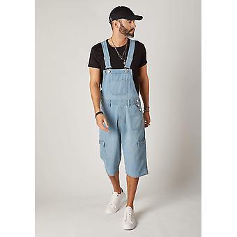 Blake mens cargo pocket denim bib overall shorts - palewash