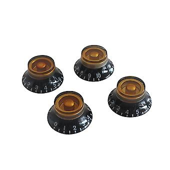 4PCS Top Hat Bell Style Guitar Speed Control Knobs Amber