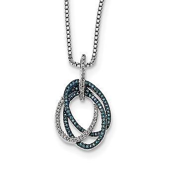 925 Sterling Silver Gift Boxed Spring Ring Rhodium verguld blauw en wit Diamond Triple Oval Hanger Ketting Sieraden Gi