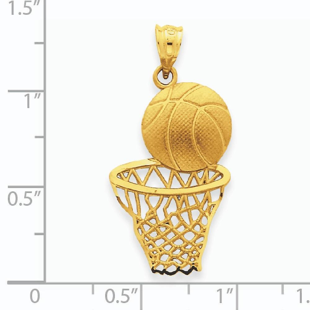 14k Yellow Gold Satin Sparkle Cut Basketball and Net Pendant Necklace Measures 33.5x16.3mm Jewelry Gifts for Women