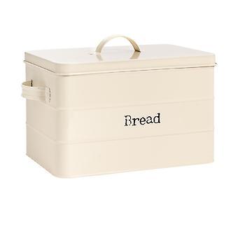 Industrial Bread Bin - Vintage Style Steel Kitchen Storage Caddy with Lid - Cream