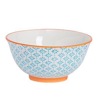 Nicola Frühling handbedruckt Eisschale - japanischen Stil Porzellan Frühstück Dessert Servierschalen - blau - 16cm