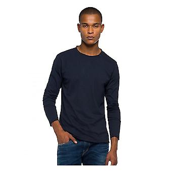 Replay Jeans Replay Long Sleeve Raw Neck Tee Shirt Navy