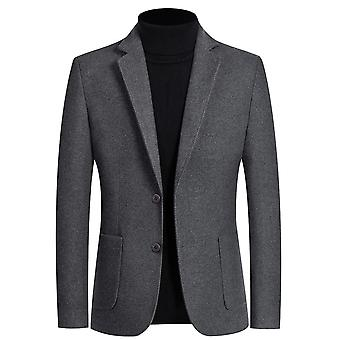YANGFAN Mens 2 Button Flat Collar Blazer Solid Color Suit Jacket
