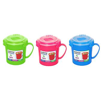Sistema Pack of 3 Microwave Soup To Go Mugs VARIOUS COLOURS