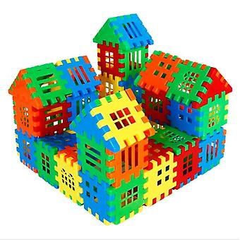 Children Assembling House Building Block, Early Education Puzzle Spelling