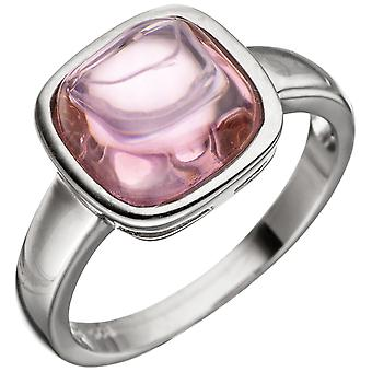 Women's Ring 925 Sterling Silver 1 Rose Quartz Pink Silver Ring
