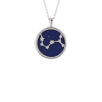 Zodiac Lapis Blue Gemstone Star Pendant Necklace Silver Scorpio