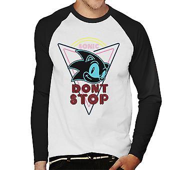 Sonic The Hedgehog Dont Stop Men's Baseball Pitkähihainen T-paita