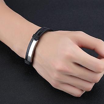 Double bracelet en cuir en acier inoxydable noir pour homme