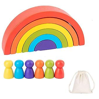 Wooden Rainbow Building Blocks -montessori Toy