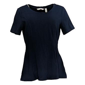Isaac Mizrahi elää! Naisten ' s Top lyhythihainen seamed Peplum sininen A354253