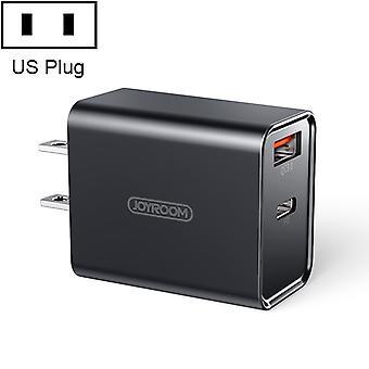 JOYROOM L-QP183 Egyszerű sorozat 18W Dual Ports Intelligens utazási töltő, Támogatás PD, QC3.0, US Plug