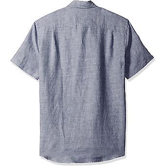 Essentials Mænd's Slim-Fit kortærmet linned skjorte, Navy, Medium