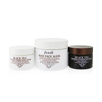 Face mask set: rose rose face mask + black tea firming overnight mask + black tea instant perfecting mask 257278 3pcs