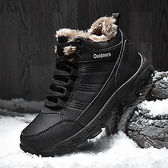 الكاحل الثلج الأحذية الشتاء الفراء الجلود الدافئة في الهواء الطلق مقاومة للماء أحذية كبيرة الحجم