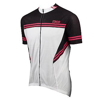 Eigo Diamond Mens Short Sleeve Cycling Jersey White / Black / Red