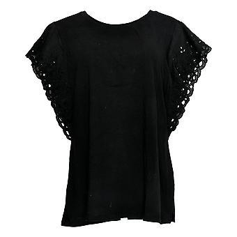 Belle by Kim Gravel Women's Top TripleLuxe Knit Flutter Black A351613