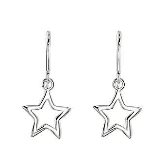 Dew sterling zilver open kleine ster drop oorbellen 68232HP028