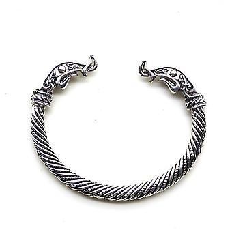 Dragon Head Mouth Open Cuff Bracelet, Nordic Viking Bangle, Antique Twisted