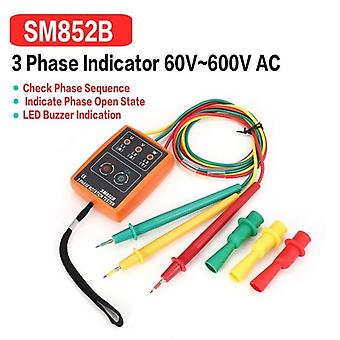 Sm852b 3 Phase Rotation Tester Digital Phase Indicator Detector