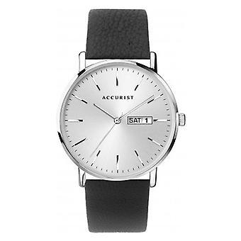 Accurist 7296 Plata Contemporánea & Cuero Negro Hombre's Reloj