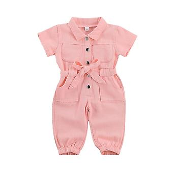Kids Baby Denim Jumpsuit, Turndown Collar Pocket Short Sleeve Romper