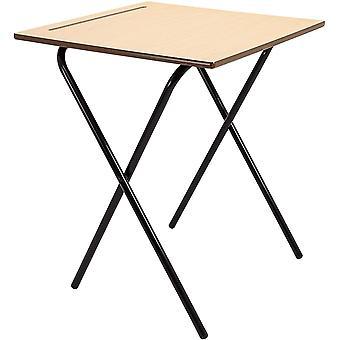 Office Hippo Home Working or School Classroom Folding Desk, Beech, 60 x 60 x 72 cm