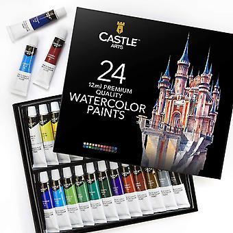 Castle Art Supplies 24 x 12ml Premium Quality Watercolour Paints Set for Adults Artists   Squeeze
