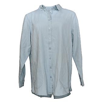 Joan Rivers Women's Top Denim Shirt with Back Button Details Blue A350289