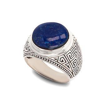 ADEN Antique effect 925 Sterling Silver Lapis Lazuli Biker Ring (id 4844)