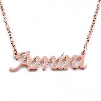 KL Amira custom nimi Rose kullattu kaulakoru 18 karaattia säädettävä ketju 16 19 cm.