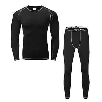 Män Långärmad Termisk fleece fodrad kompressionsunderkläder Set Cykel Jersey Underställ Skjorta och Byxor Leggings för cykling Löpning Jogging