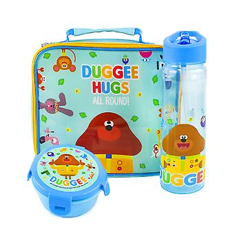 Hey Duggee Lunch Box 3 Piece Set For Kids   Boys & Girls Characters Insulated Food Bag, Water Bottle & Snack Pot For School   TV Series Merchandise