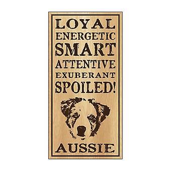 """שלט, עץ, אוסטרלי מפונק, 5"""" X 10"""""""