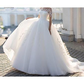 أزياء التطبيقية الدانتيل فستان الزفاف مطرز الأكمام الطويلة