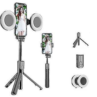 Με το μαύρο ραβδί selfie bluetooth 2 φω'των με το οδηγημένο φως δαχτυλιδιών, επεκτάσιμο φορητό ζωντανό τρίποδο az5952
