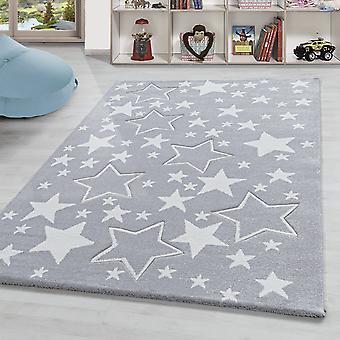 Children's carpet star motif short pile baby room carpet children's room Grey White