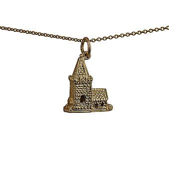 9ct Gold 19x15mm moveable Charm a Church inside a tiny Bride and Groom with a curb Chain 16 inches Only Suitable for Children